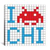 iCanvas Space Invader - I Invade Chicago Tile Art White Canvas Wall Art