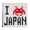 iCanvas Space Invader - I Invade Japan Tile Art White Canvas Wall Art