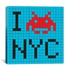 iCanvasArt Space Invader - I Invade NYC Tile Art Blue Canvas Wall Art