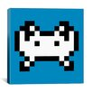 iCanvas Space Invader - Invader Pixel Art (White and Blue) Canvas Wall Art