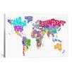 iCanvas 'Typographic Text World Map VI' by Michael Thompsett Graphic Art on Canvas