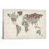 iCanvas 'Typographic World Map VI' by Michael Tompsett Textual Art on Canvas