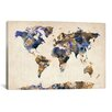 "iCanvasArt ""Urban Watercolor World Map V"" by Michael Thompsett Painting Print on Canvas"