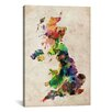 "iCanvas ""United Kingdom Watercolor Map"" by Michael Thompsett Painting Print on Canvas"