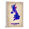 "iCanvas ""United Kingdom Watercolor Map"" Canvas Wall Art by Naxart"