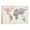 iCanvas 'Typographic Text World Map' by Michael Thompsett Graphic Art on Canvas