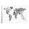 iCanvas 'Typographic Text World Map V' by Michael Thompsett Graphic Art on Canvas