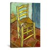 <strong>iCanvasArt</strong> 'Vincent's Chair with His Pipe' by Vincent Van Gogh Painting Print on Canvas