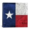 iCanvasArt Flags Texas Map with Lomo Film Grunge Graphic Art on Canvas
