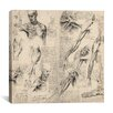 "<strong>iCanvasArt</strong> ""Sketchbook Studies of Human Body Collage"" Canvas Wall Art by Leonardo da Vinci"