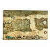 iCanvas Sir Francis Drake's Attack on Saint Augustine (St. Augustine Map, 1589) Canvas Wall Art