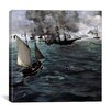 """iCanvasArt """"The Battle of The USS Kearsarge and CSS Alabama"""" Canvas Wall Art by Edouard Manet"""