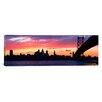 <strong>iCanvasArt</strong> Panoramic Ben Franklin Bridge, Delaware River, Philadelphia, Pennsylvania Photographic Print on Canvas