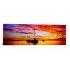 iCanvasArt Panoramic Silhouette of Sailboats in the Ocean at Sunset, Tahiti, Society Islands, French Polynesia Photographic Print on Canvas