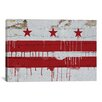 iCanvasArt Flags Washington, D.C Wood Planks with Paint Drip Graphic Art on Canvas