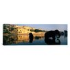 iCanvasArt Panoramic Silhouette of Two Elephants in a River, Amber Fort, Jaipur, Rajasthan, India Photographic Print on Canvas