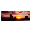 iCanvasArt Panoramic Silhouette of Buttes at Sunset, Monument Valley, Utah Photographic Print on Canvas