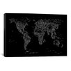iCanvas Font World Map by Michael Tompsett Graphic Art on Canvas in Black
