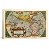 <strong>iCanvasArt</strong> Antique Map of the Americas (1598) by Abraham Ortelius Graphic Art on Canvas in Color