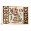 iCanvas Antique Map of the British Isles (1653) by Joan Janssonius Graphic Art on Canvas in Color