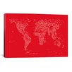 iCanvas Font World Map by Michael Tompsett Graphic Art on Canvas in Red