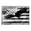 <strong>iCanvasArt</strong> Bald American Eagle, U.S. Flag Graphic Art on Canvas in Black / White