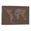 iCanvas Font World Map by Michael Tompsett Graphic Art on Canvas in Brown