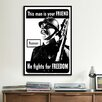 iCanvas He Fights for Freedom - Russian - WWII Vintage Advertisement on Canvas