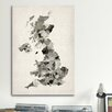 iCanvasArt 'Great Britain UK Watercolor Map' by Michael Tompsett Graphic Art on Canvas