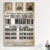iCanvas Mugshot Dead or Alive - Murderer Wanted Textual Art on Canvas
