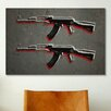<strong>iCanvasArt</strong> 'AK47 Assault Rifle' by Michael Tompsett Painting Print on Canvas
