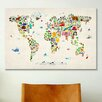 <strong>iCanvasArt</strong> 'Animal Map of The World' II by Michael Tompsett Graphic Art on Canvas
