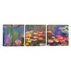 iCanvasArt Claude Monet Water Lilies 3 Piece on Canvas Set