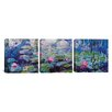 iCanvasArt Claude Monet Nympheas 3 Piece on Canvas Set