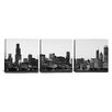<strong>iCanvasArt</strong> Panoramic Photography Chicago Skyline Cityscape Dusk 3 Piece on Canvas Set in Black and White