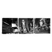iCanvas Panoramic Photography New York Skyline Cityscape Times Square at Night 3 Piece on Canvas Set in Black and White