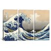 iCanvas Katsushika Hokusai The Great Wave at Kanagawa 3 Piece on Canvas Set