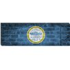 iCanvasArt Boston, Massachusetts Flag, Grunge Bricks Panoramic Graphic Art on Canvas