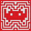 iCanvas Space Invader - Red Invader Aura Tile Art (Red and White) Canvas Wall Art