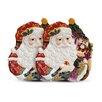 "Fitz and Floyd Regal Holiday 9.75"" Santa Canape Plate (Set of 2)"