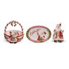 Fitz and Floyd Candy Cane Santa 3 Piece Lidded Box/Sentiment Tray and Basket Set