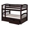 Camaflexi Low Bunk Bed with Drawers and Arch Spindle Headboard