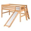 Low Loft Bed with Slide Lateral Ladder and Mission Headboard