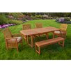 Home Loft Concept 6-Piece Wood Patio Dining Set with Cushions