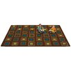 Kids Value Rugs Brown Squares Seating Area Rug