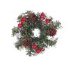 Oddity Inc. Snow Tipped Pine with Berries Candle Ring (Set of 2)