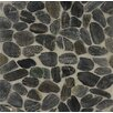 Bedrosians Hemisphere Sliced Pebble Stone Polished Mosaic Tile in Panther Black