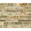 Bedrosians Onyx Linear Random Sized Marble Polished Mosaic in Palisades Green