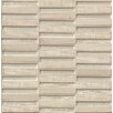 """Bedrosians Tessuto Stacked Blend 1/2"""" x 4"""" Stone and Glass Mosaic Tile in Silver"""