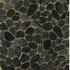 Bedrosians Hemisphere Sliced Pebble Stone Unglazed Mosaic Tile in Ocean Black